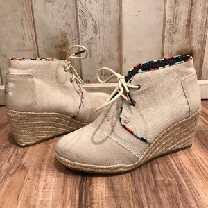 Toms Suede and Canvas Woven Wedges